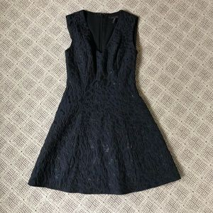 BCBG Navy Blue Leopard Fit and Flare Dress